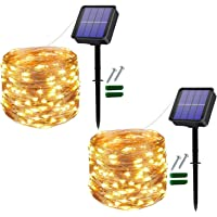 Solar String Lights Outdoor 2 Pack 120LED Solar Garden Lights Waterproof 12M/40Ft 8 Modes Indoor Fairy Lights Copper…