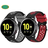Fit for Samsung Galaxy Watch Active 2 40mm/ 44mm Watch Bands, Polar Ignite 20mm Silicone Quick Release Replacement Band Straps Wristbands Fit for Garmin VivoActive 3 Music Women Men (Black Red)