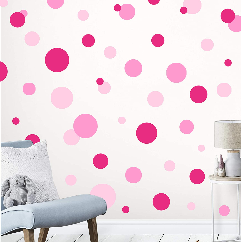 Create-A-Mural Pink, Soft Pink, & Hot Pink Polka Dot Wall Decals -Girls Room Wall Decor Stickers Vinyl Peel & Stick DIY Bedroom
