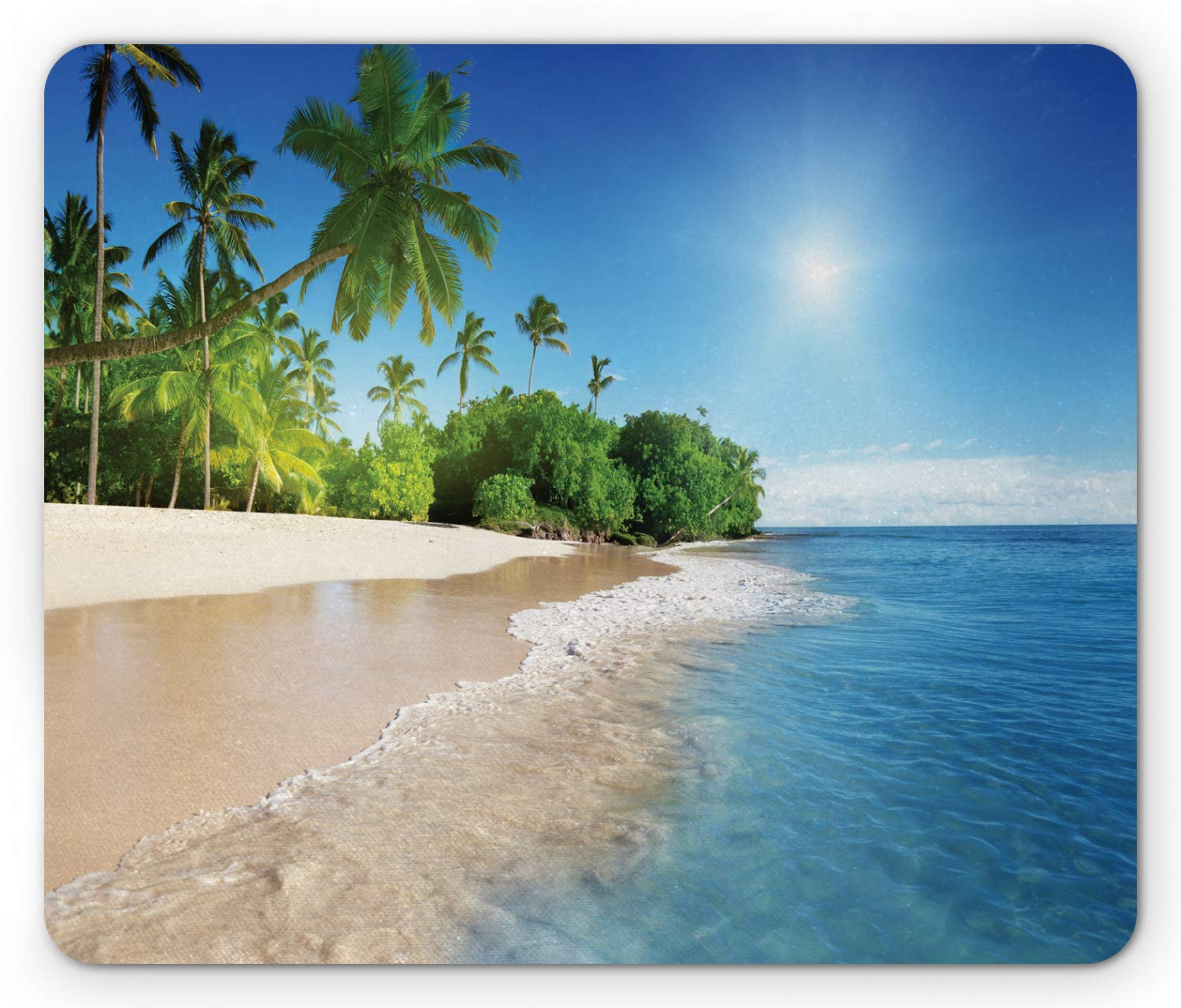 Ambesonne Blue Mouse Pad, Ocean Tropical Palm Trees on Sunny Island Beach Scene Panoramic View Picture, Standard Size Rectangle Non-Slip Rubber Mousepad, Blue Green and White