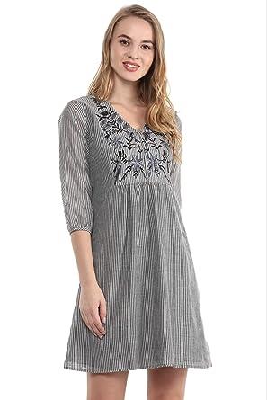 8daec2e4185 THE VANCA Grey Striped Tunic Dress with Embroidery at Yoke: Amazon ...