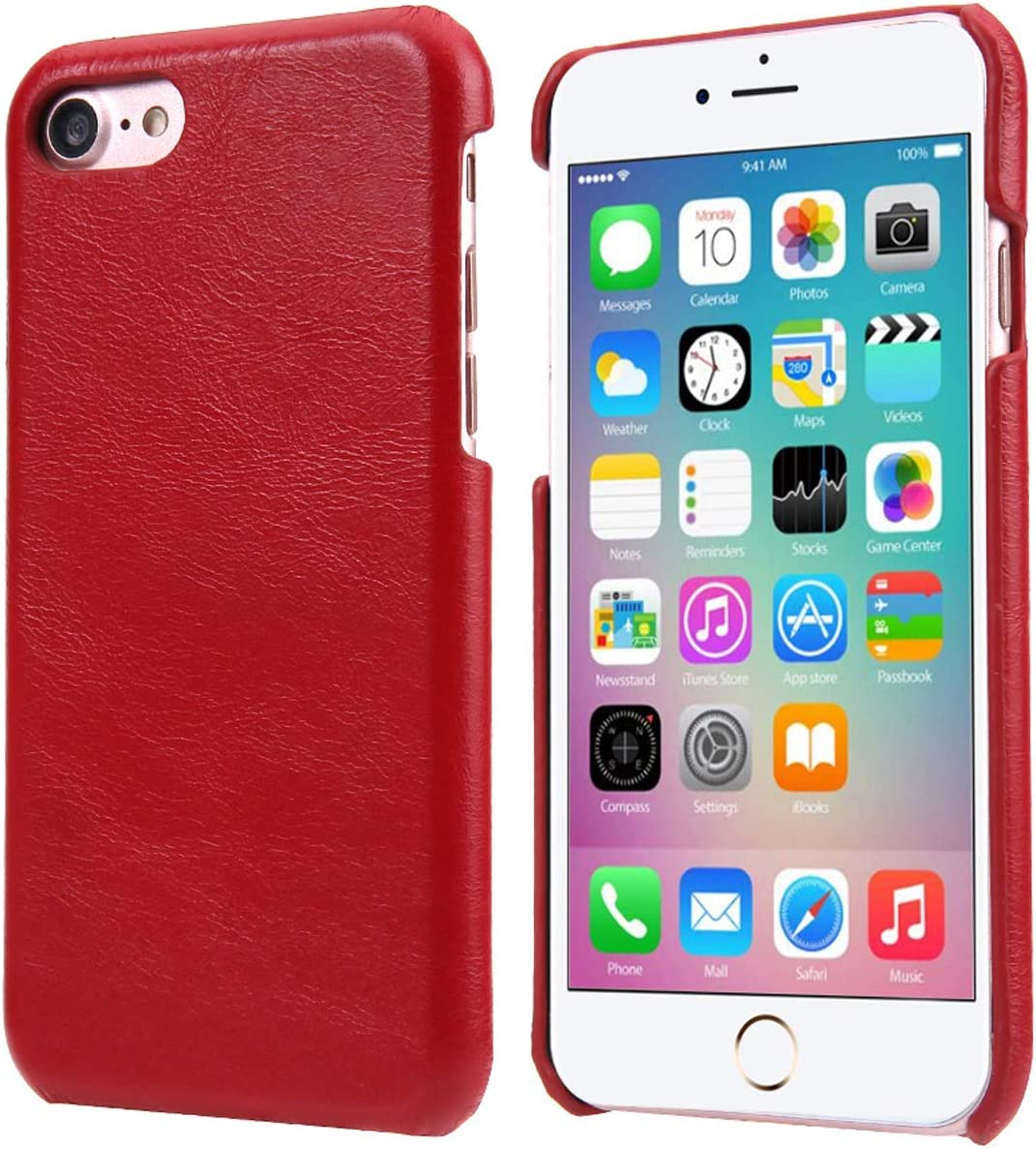 iPhone 7 Leather Case, iPhone 8 Leather Case, Reginn Wireless Charging Compatible Phone Bumper, Slim Fit Genuine Leather Case for iPhone 7 and iPhone 8 (Red)