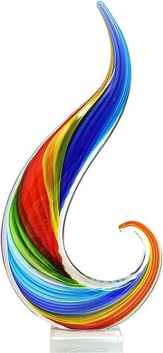 Luxury Lane Hand Blown Rainbow Swirl Sommerso Art Glass Sculpture 16 inch Tall