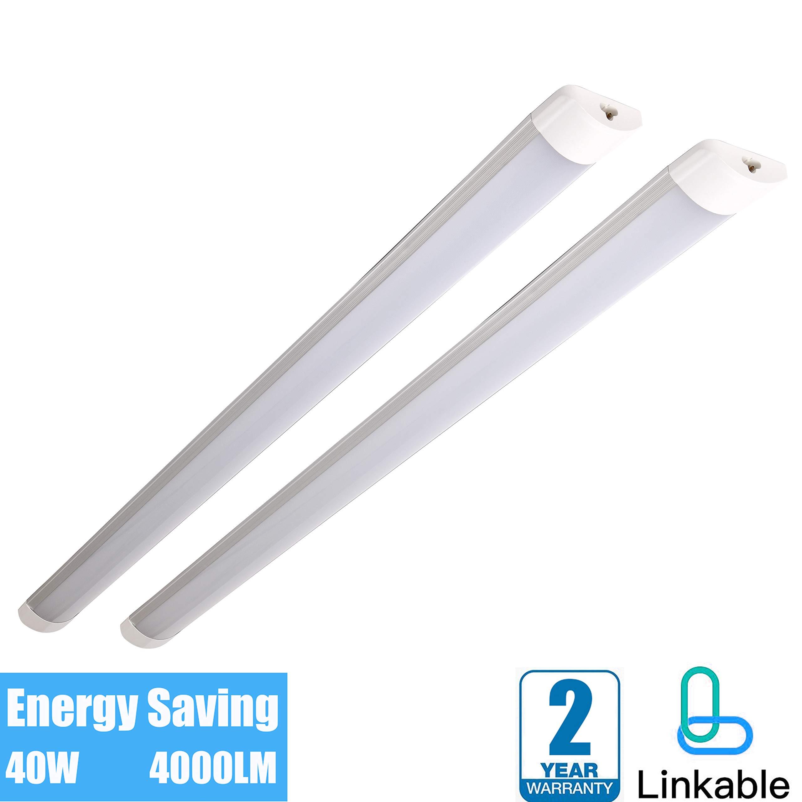 40W Linkable Utility LED Shop Light 4ft for Garage Ceiling Super Bright Wraparound Flushmount Light 4000 Lumens 6500K, Built-in ON/Off Switch Linear Light Bar, Basement Workbench Lighting (2-Pack)
