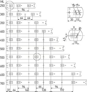 1 Paar 2 St/ück Vollausz/üge 550 mm mit 45 Kg Tragkraft Schubladenschiene Teleskopschiene von SO-TECH