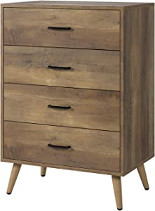 HOMECHO 4-Drawer Dresser, Rustic Wood Chest of Drawers for Bedroom, Dresser Chest with Wide Storage Space, Tall Nightstand Multifunctional Organizer Unit, Accent Furniture for Living Room Home Office