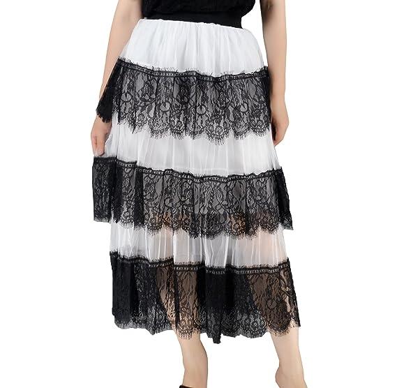 959c7f45022 YSJ Lady's Chiffon Skirt 3-Layers Irregular Hem Summer Long Skirts ...
