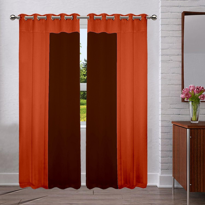 LUSHOMES 8 Ojales apagón Bicolor de poliéster Panel Cortinas para Puertas Pack de 2 Piezas: Amazon.es: Hogar