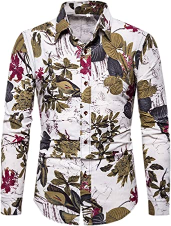 QZH.DUAO Mens Floral Print Denim Shirt