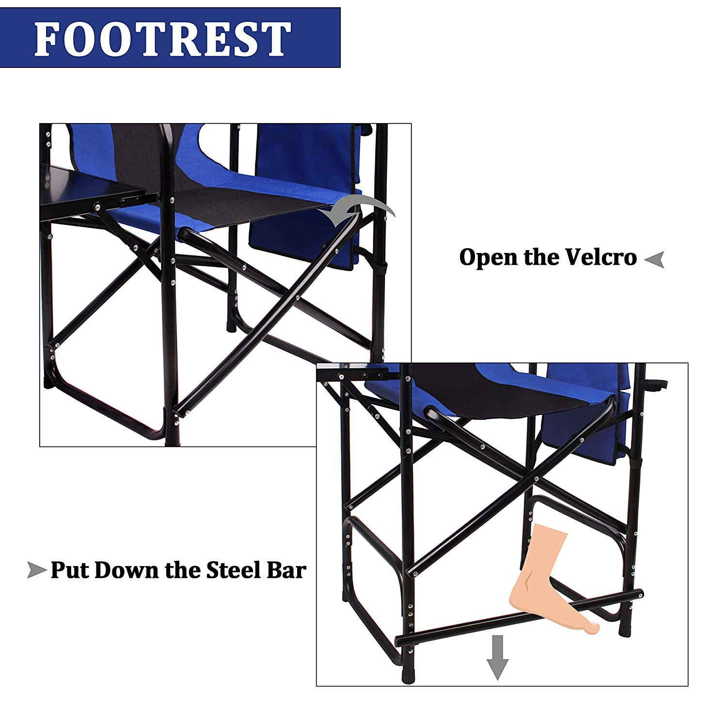 Supports 300LBS Makeup Artist Collapsible Chair with Side Table Storage Bag Footrest Shaddock Tall Directors Chair Folding Camping Chair Blue
