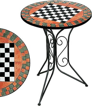 DEUBA GmbH & Co. KG. Table guéridon Mosaique avec plateau échec -Table de  jardin petite table appoint