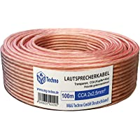 100 m luidspreker, kabel, transparant, 2 x 2,5 mm2 polariteitsidentificatie