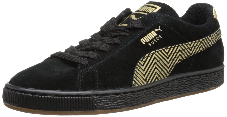 PUMA Women's Suede Classic Sneaker B00DUGWZ86 5.5 B(M) US|Black/Team Gold