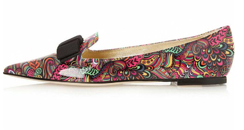 Eldof Women's Flats, Pointed Toe Flats Pumps, Patent Leather Flats Pumps, Walking Dress Office Classic Comfortable Flats B07DZW1GJY 7.5 B(M) US|Red-flower