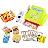 MAGIKON Pretend Play Cash Register Set , Pretend Cashier With Play Food and Bill