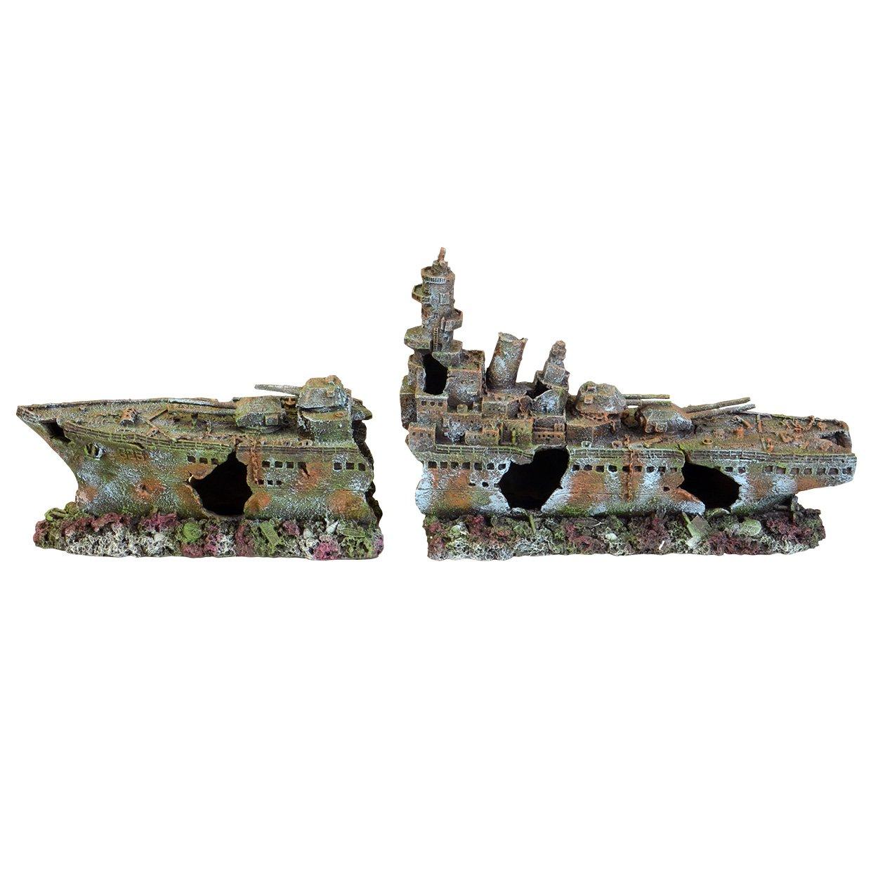 Underwater Treasures 65236 Battleship Ruins Aquarium Ornament 2 Piece