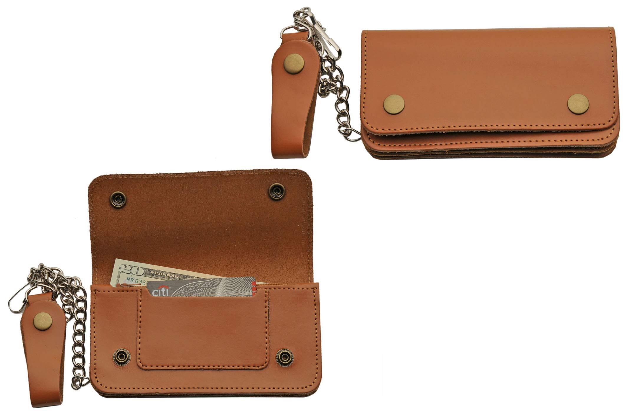 SZCO Supplies Seen Brown Biker Wallet Leather Wallet