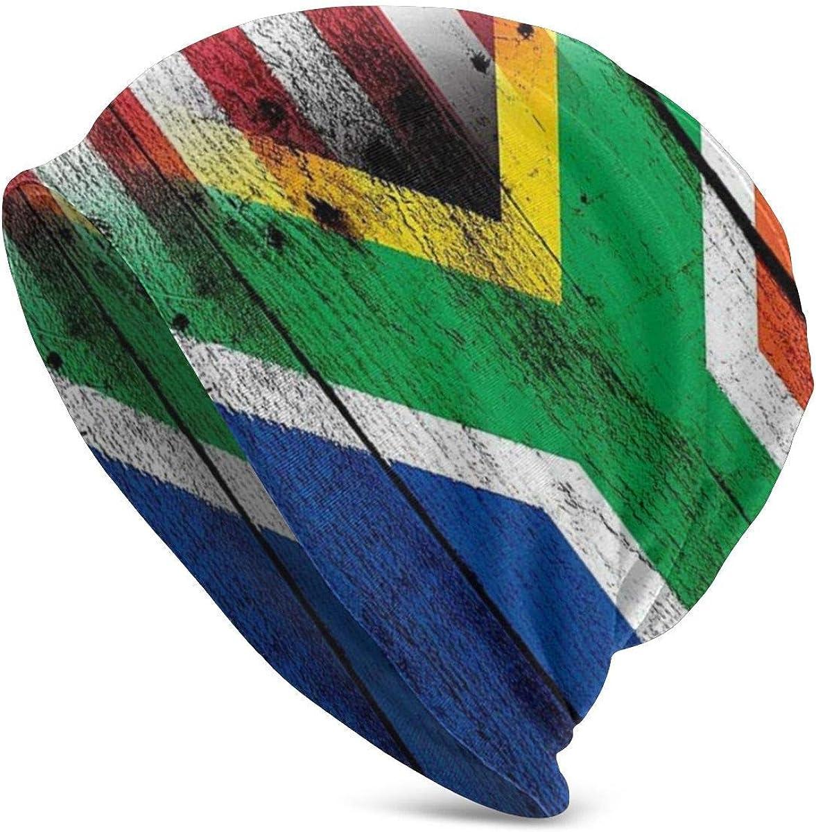 Knit Beanie Hat Bandera de Sudáfrica (Africana) Gorra de Calavera Americana Senderismo Hip Hop Warm Beanie Hat para Mujer Negro