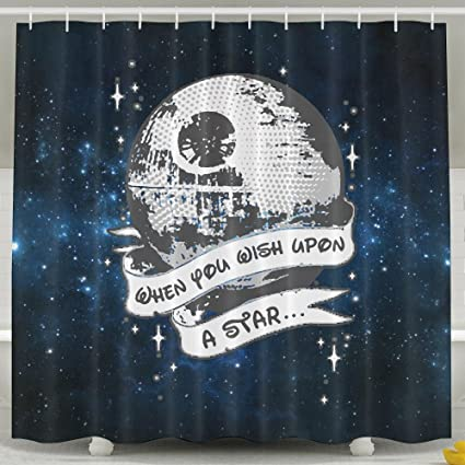 XsWu When You Wish Upon A Death Star Shower Curtain Bath With Hooks 60x72