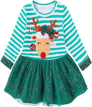 Noël Bébé Filles à Manches Longues à Rayures Cerf Imprimer Robe Tenues Vêtements