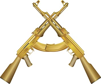 Amazon.com: DOUBLE GOLDEN AK-47 MACHINE GUN GOLD Vinyl Decal Sticker Two in  One Pack (4 Inches Wide): Home & Kitchen