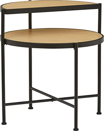 Amazon Brand Stone Beam 2-Tier Rustic Accent End Table, 26 W, Light Wood and Dark Metal