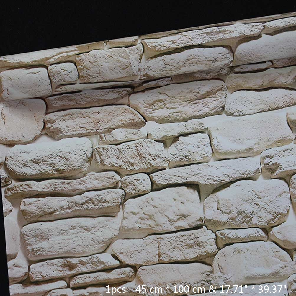 BIBITIME 17.71 x 39.37 3D Stone Wall Stickers White Rock Wallpaper Self Adhesive PVC Decal for Living Room Porch Bedroom Study Nursery Student Dormitory