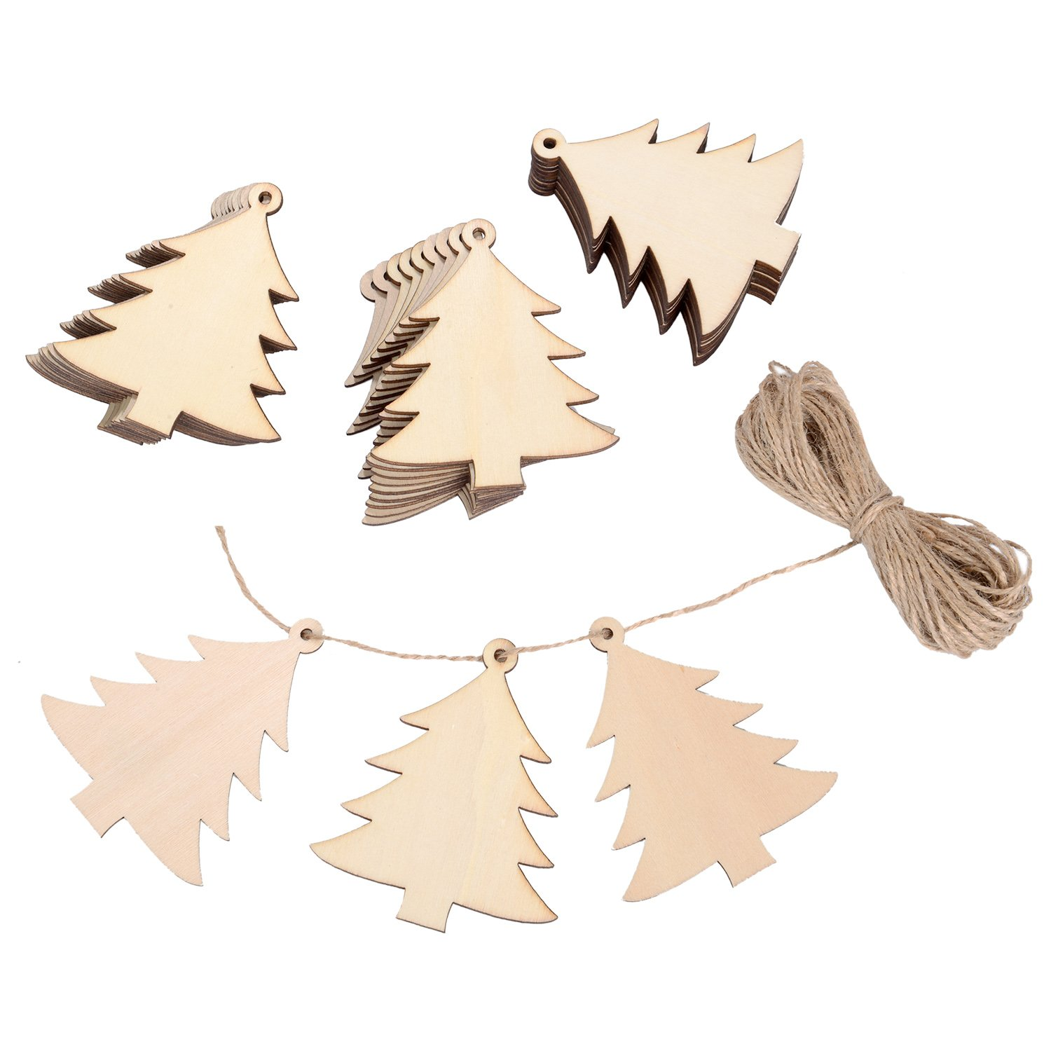 487acca5edd 30 Pieces Wood Christmas Tree Blanks Wooden Tree Embellishments with 10  Meters Natural Twine for Holiday Party Decoration  Amazon.co.uk  Kitchen    Home