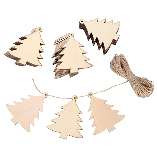 30 pieces wood christmas tree blanks wooden tree embellishments with 10 meters natural twine for holiday
