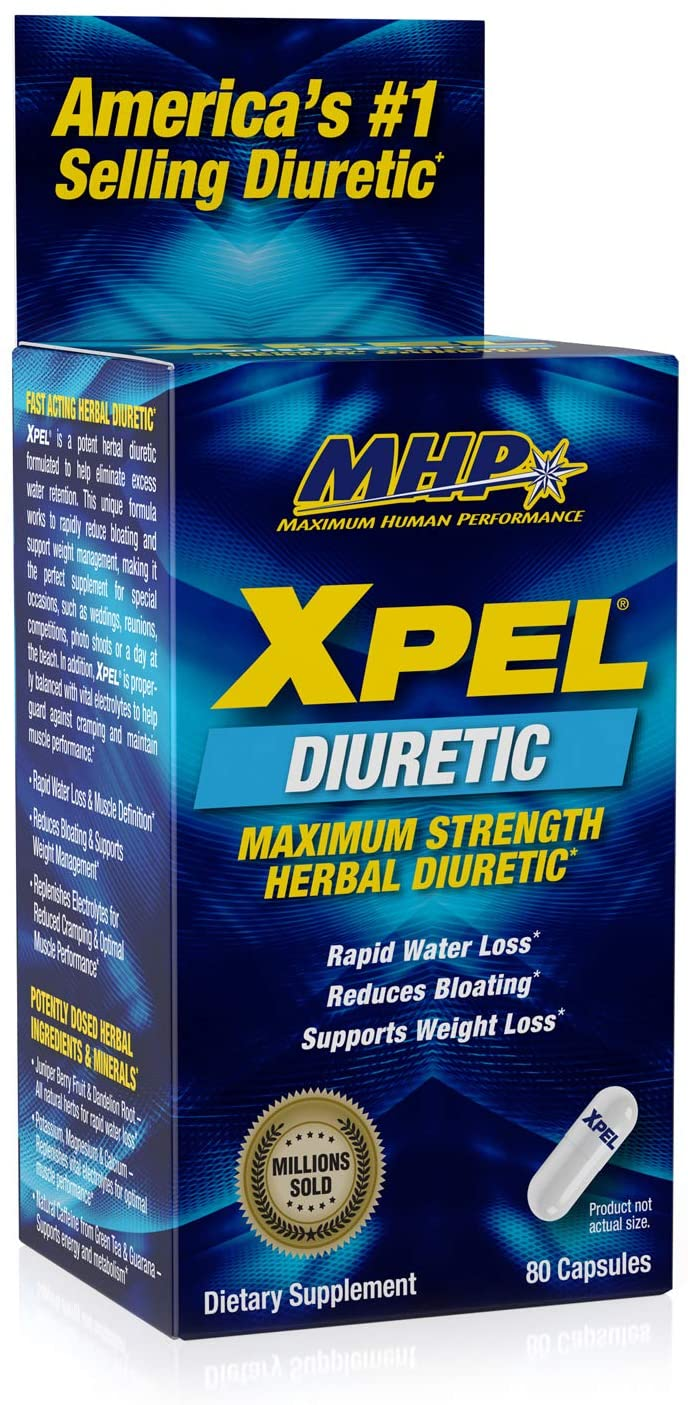 MHP Xpel Maximum Strength Diuretic Water Pills, for Water Retention Relief, Weight loss Support, with Vitamin B-6 Potassium Dandelion Root, 80 Capsules: Health & Personal Care