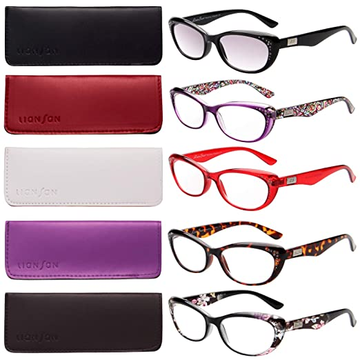 b3ef7de00b27 Amazon.com  LianSan 5-pack Fashion Designer Cat Eye Reading Glasses Women  Reading Eyeglasses Includes Sun Readers L3705x (+1.00