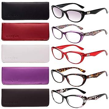0240f3d2aa2 LianSan 5-pack Fashion Designer Cat Eye Reading Glasses Women Reading  Eyeglasses Includes Sun Readers