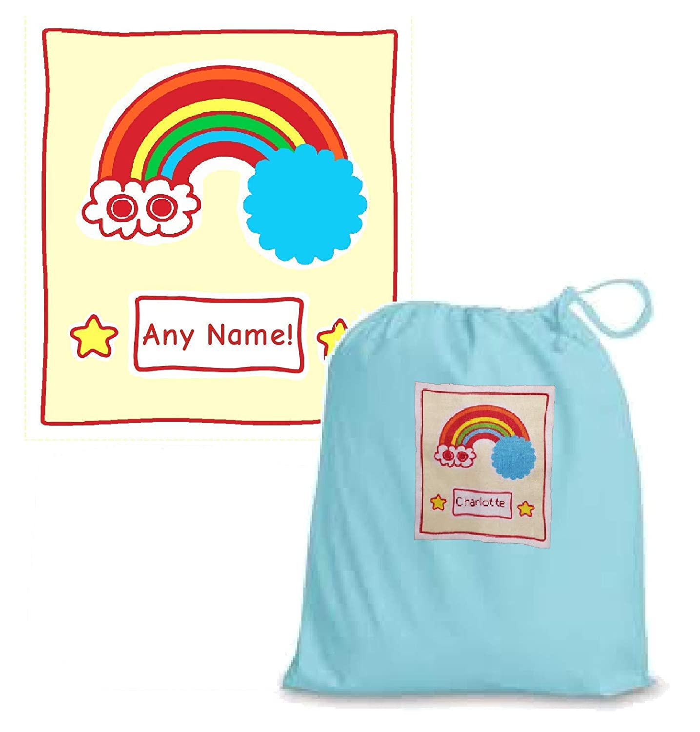 Light Blue Personalised Kids Rainbow Large Drawstring Gift Bag