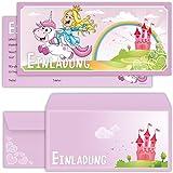 Prinzessin Einladungskarten Mit Umschlägen (12er Set) Zum Kindergeburtstag  Mit Einem Niedlichen, Süßen Einhorn