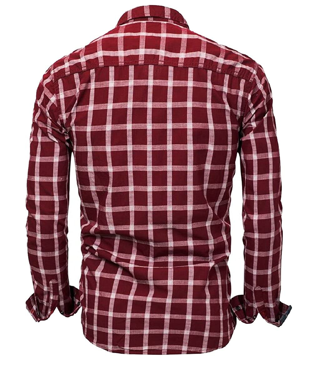 FLCH+YIGE Mens Long Sleeve Plaid Button Shirt Vintage Work Dress Shirt