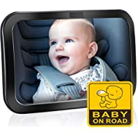OMORC Baby Car Mirror, (New Improved Design) Backseat Mirror for Baby – Large and Safest Shatterproof Baby Mirror to See Rear Facing Infants, Kids and Child.