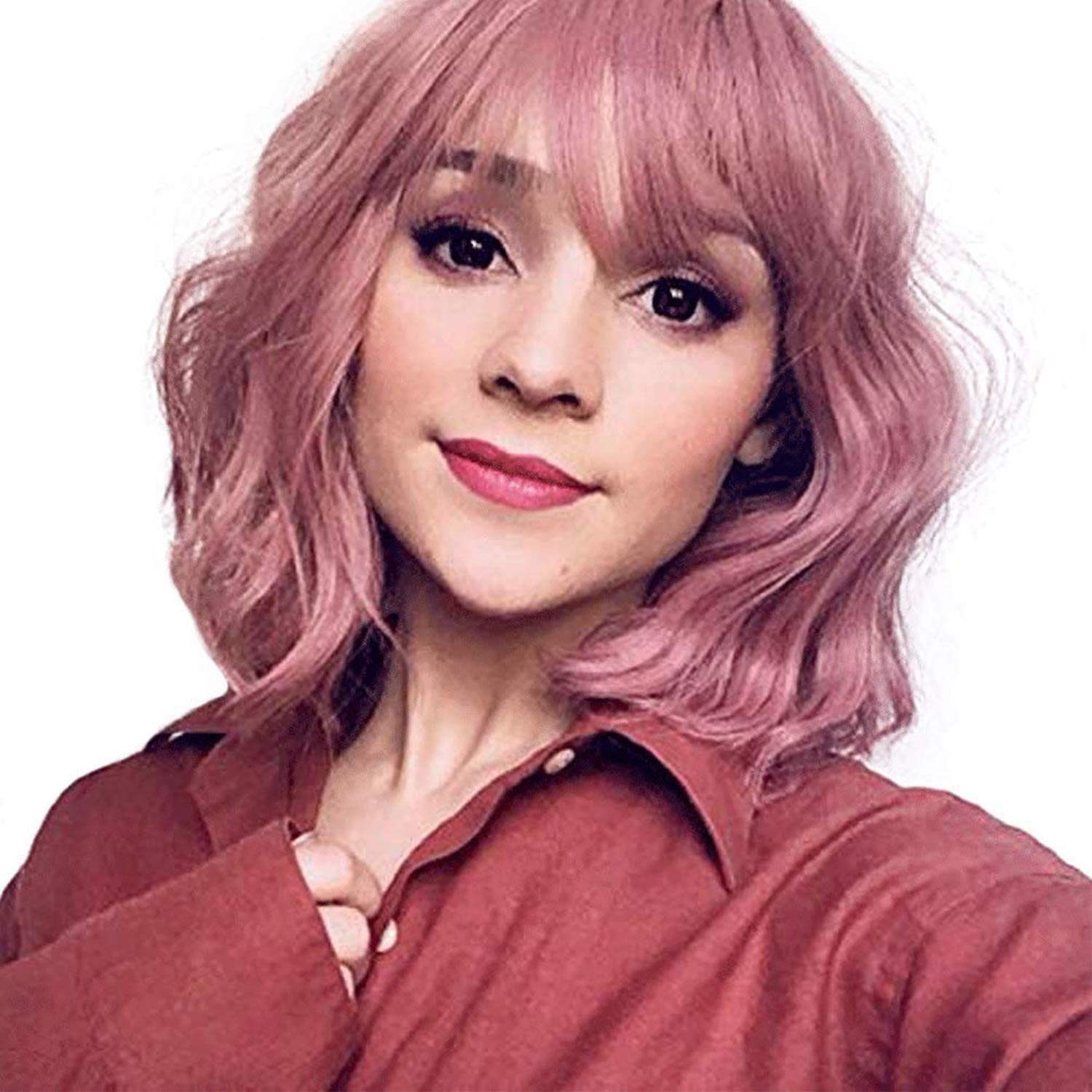 Iciwueen Short Bob Wigs for Women Black Straight Wig with Bangs Natural Looking Heat Resistant Premium Synthetic Wig for Girls Lady Cosplay Party Daily Wear