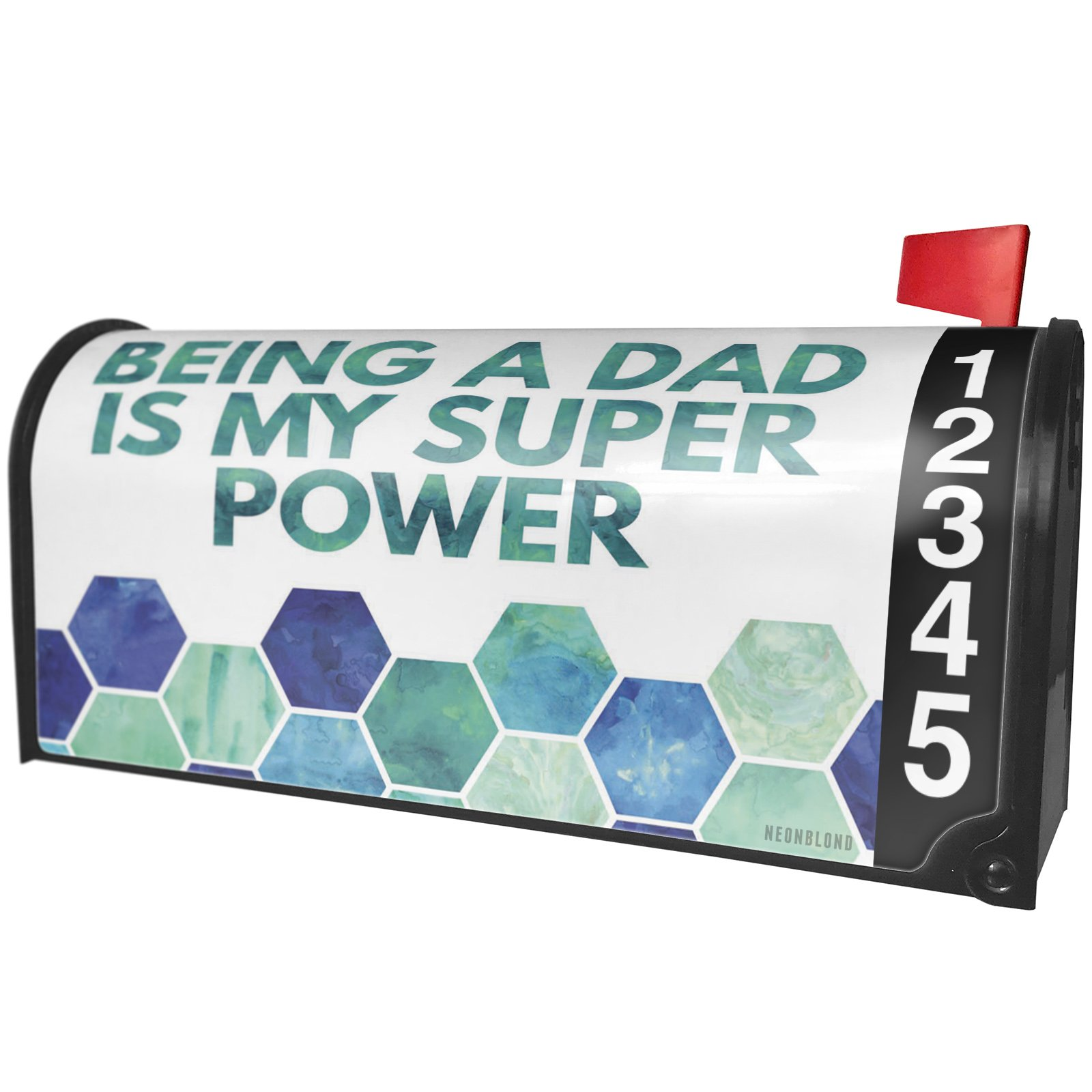 NEONBLOND Being a Dad is My Super Power Father's Day Watercolor Honeycomb Blue Magnetic Mailbox Cover Custom Numbers