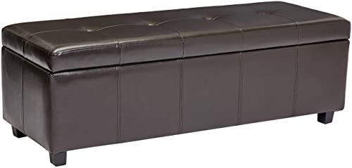 Red Hook Meknes Rectangular Faux Leather Storage Ottoman Bench – Dark Cocoa