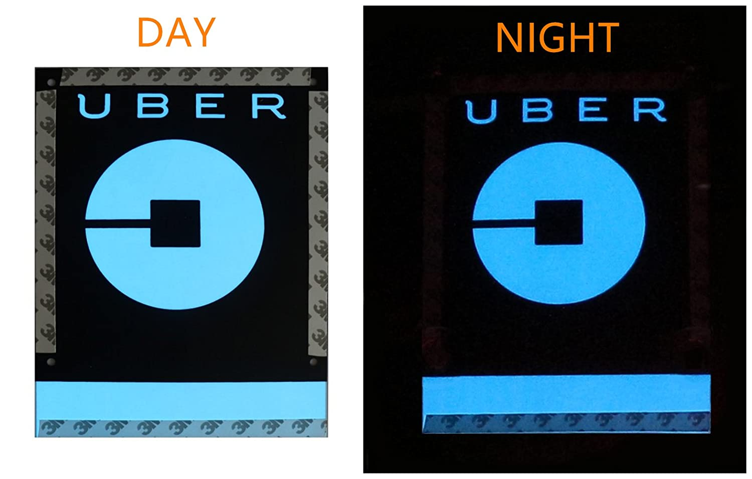 Rideshare Sign 3.5 M Charge Inverter Power Cord LED Logo Light Sticker Glow Decal Accessories Removable U ber Glowing Sign For Car Taxi Rideshare Sign
