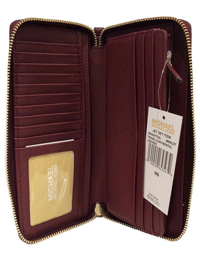 Michael Kors Leather Jet Set Travel Continental Zip Around Wallet Wristlet (Merlot) by Michael Kors (Image #2)