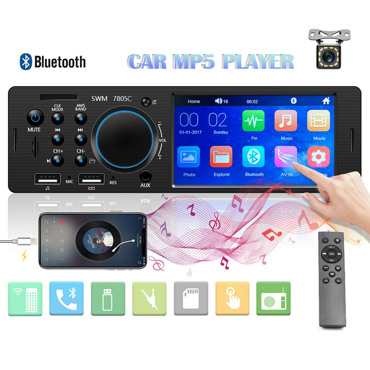 Remote Control AUX Input SD Car Stereo Single Din Multimedia Car Radio 4.1 Touch Screen Bluetooth Audio Hands-Free Calling Fast Charging FM Radio Receiver MP5 Player with Rear View Camera USB