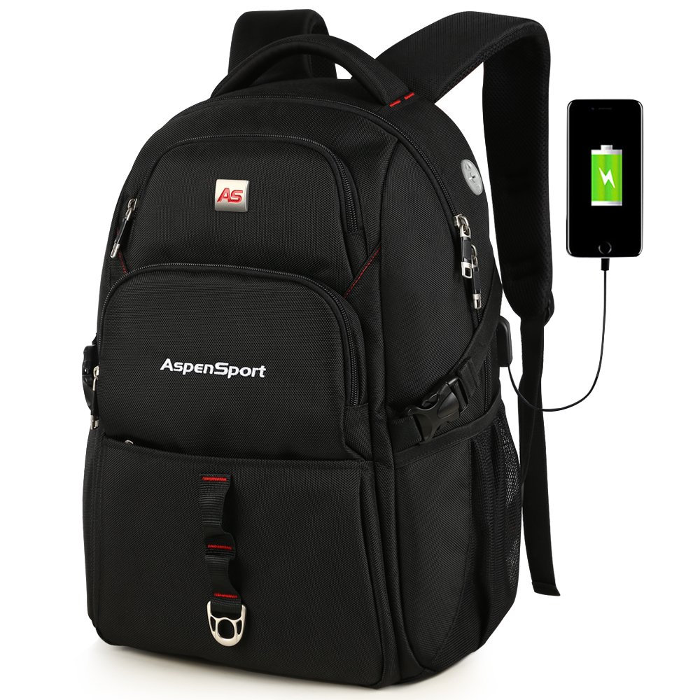 ASPENSPORT Laptop Bags for Men&Women Travel Backpacks Fit 17 Inch Large Computer Notebook College Rucksacks Anti Theft with USB Charging Port Black