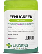 Lindens Fenugreek 610mg Capsules | 100 Pack | Natural Herbal Food Supplement in Rapid Release, Easy to Swallow Capsules