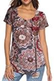 Dasbayla Ladies Short Sleeve V Neck T Shirts Floral Print Tunic Tops
