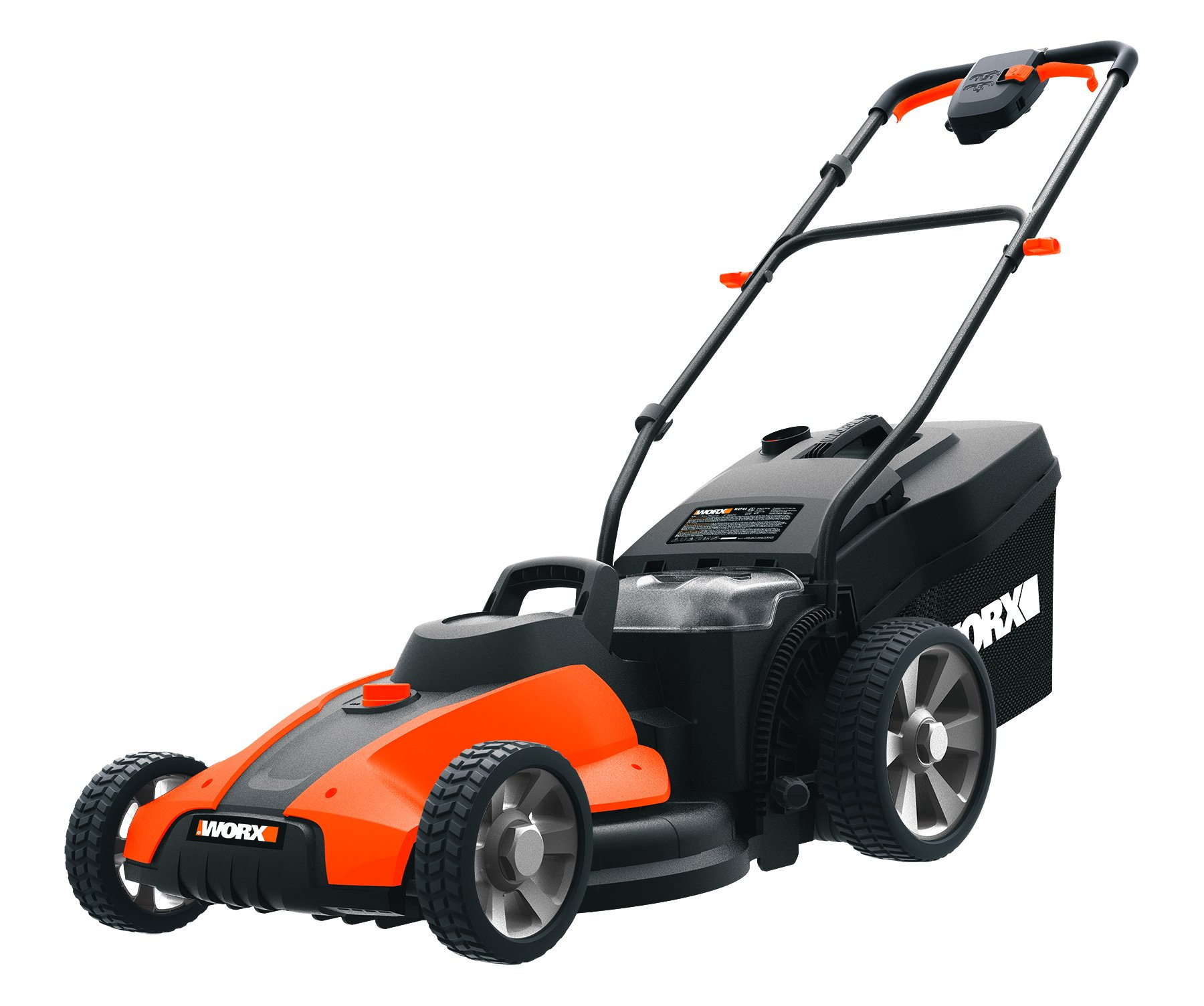 Worx wg744 cordless lawn mower 1 the 17 inches mower includes 2 removable 20v 4; 0ah batteries that delivers 40v power and performance patented intellicut provides additional torque on demand and the ability to conserve battery when desired premium 2 in 1 design that mulches, bags and rear discharges and includes a quick single lever cutting height adjustment.
