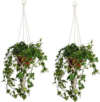 Lanker Colgador De Plantas Colgante Para Exterior JardíN Canasta De AlgodóN Con Cuentas De 105cm KD09B: Amazon.es: Bricolaje y herramientas