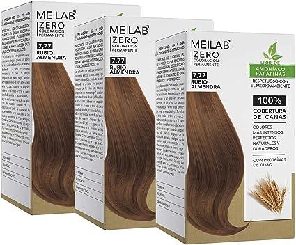 MEILAB - Tinte permanente sin amoniaco - Pack de 3 unidades - Color Rubio tabaco medio #7-77