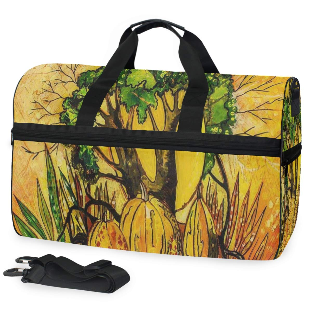 Autumn Fall Landscape With Pumpkins Large Canvas shoulder bag with Shoe Compartment Travel Tote Luggage Weekender Duffle Bag