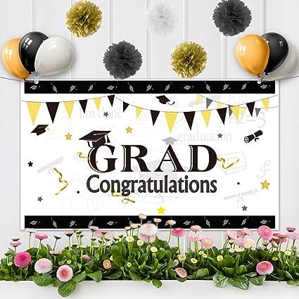 amazon com kuuqa 25 pcs graduation party banner set 71 x 40